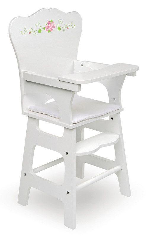 Badger Basket 15301 White Rose Doll High Chair