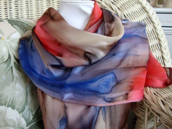 Scarf, Silk, Women, Hand Dyed, Mulberry Tree Silk Scarf, Chestnut ... 90eaaf350ce