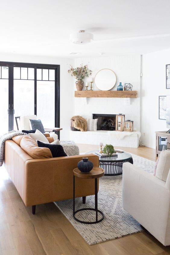 Living Rooms Image By Melissa Benefiel Farm House Living Room Modern Farmhouse Living Room White Brick Fireplace