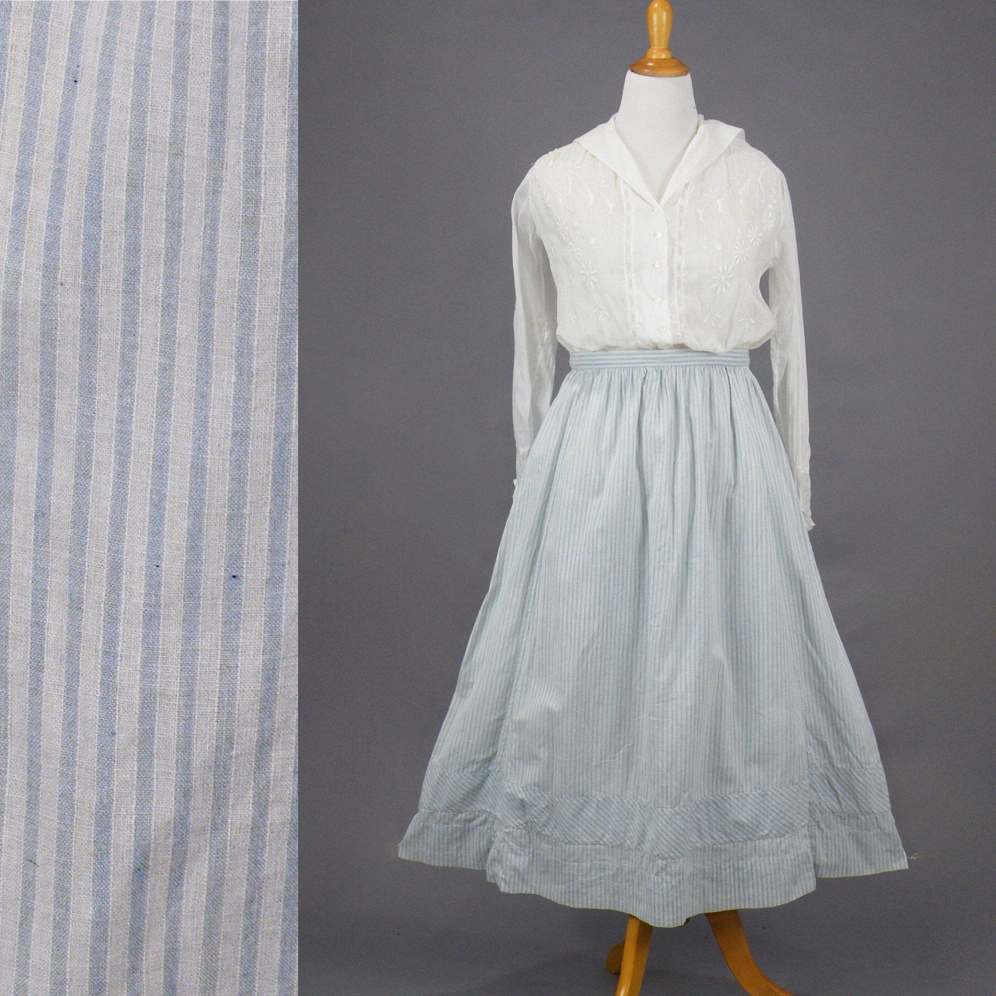 1900s 1910s Antique Striped Cotton Skirt Large Cotton Skirt Dress 1900 Event Dresses [ 2048 x 2048 Pixel ]
