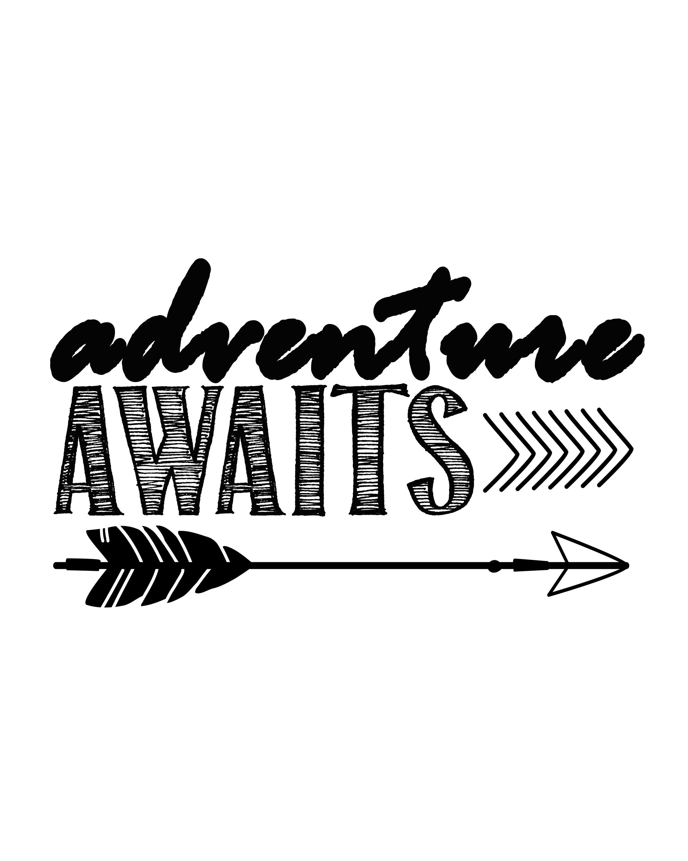 adventure awaitsfree printable art print | silhouette | pinterest