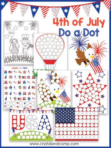 4th-of-july-do-a-dots-printables Summer Camp at Home Pinterest - new 4th of july coloring pages preschool