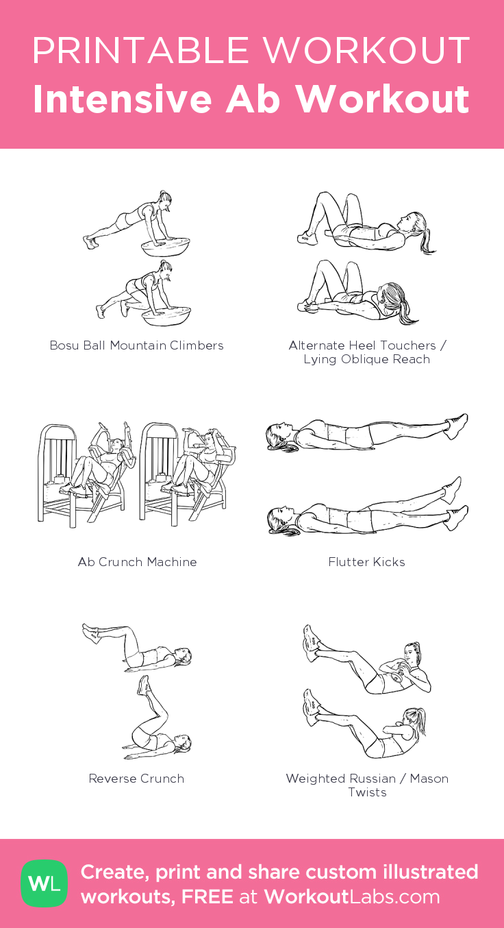 Intensive Ab Workout– my custom exercise plan created at WorkoutLabs.com • Click through to download as a printable workout PDF #customworkout