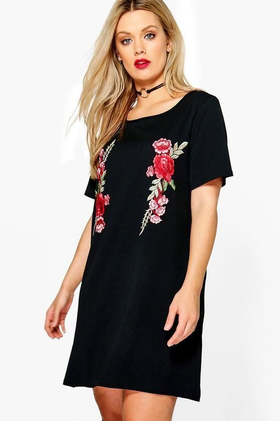 8fb64f2a4cd NWT Boohoo Plus Size 16 US Alexis Embroidered Shift Dress Black Rose Floral  NEW