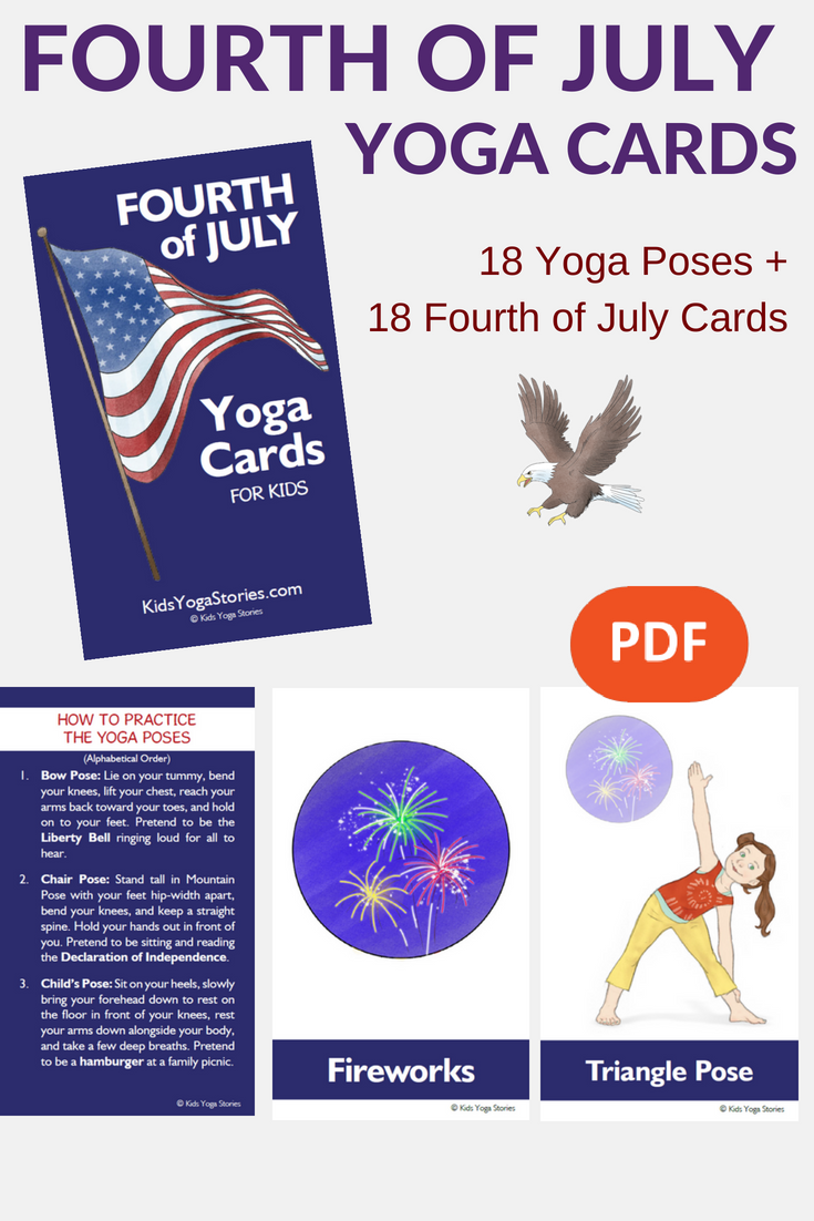 Fourth Of July Yoga Cards For Kids Yoga Cards Yoga For Kids Teaching Yoga To Kids