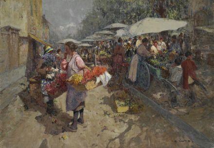 Lupo Alessandro : Mercato dei fiori  ((1910-1920))  - Olio su tela - Asta Opere  [..]