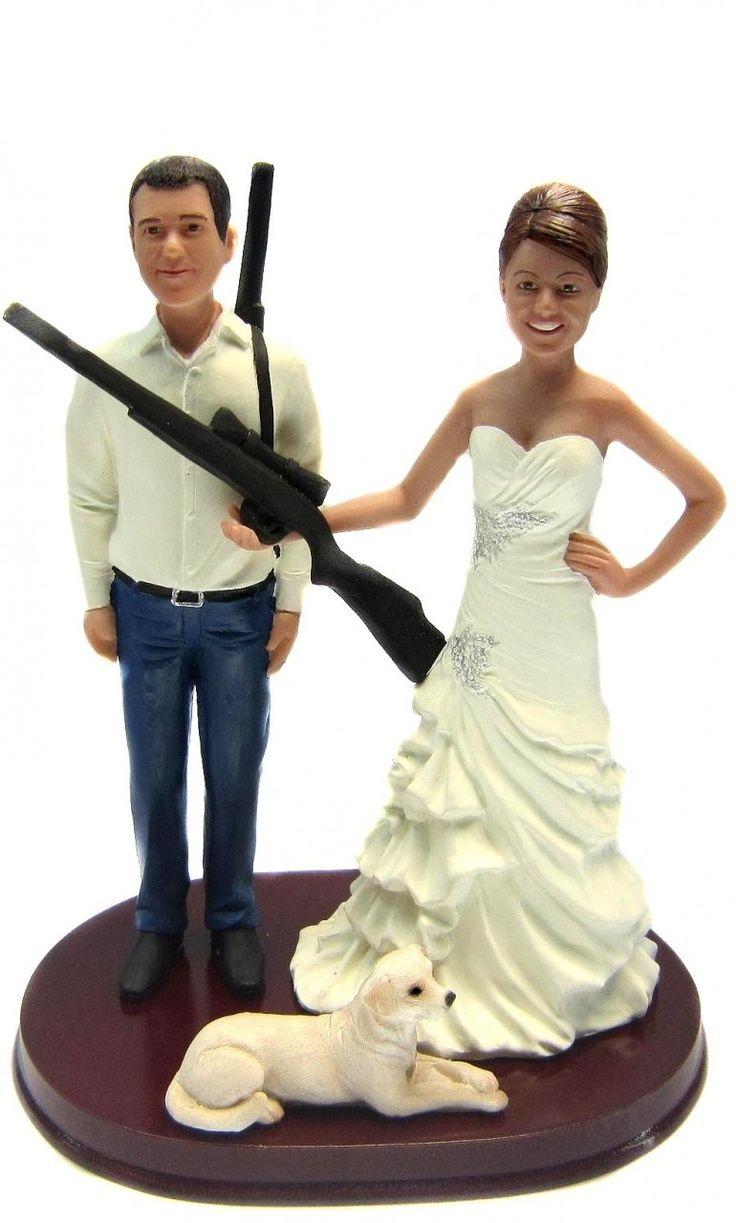 Hunting Bride and Groom w/ Shotguns Custom Wedding Cake Topper scul ...