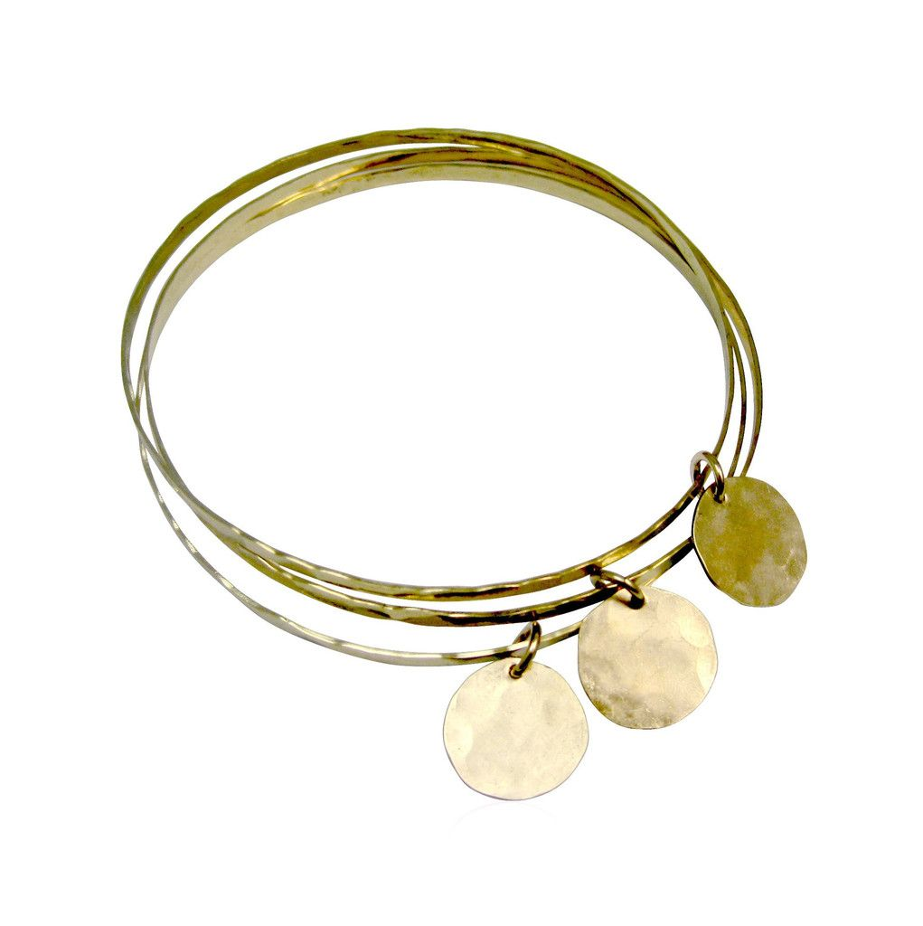 Organic Bangles Set of 3 with Charms - Gold, Silver