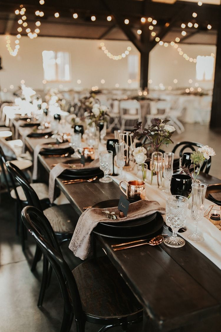 Camelot Ranch Wedding In Billings Montana Demi Zach In 2020 Copper Wedding Decor Black Wedding Table Dark Romantic Wedding