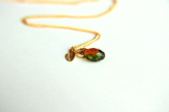 Olive Green shaded swarovski cystal necklace with by HirasuGaleri