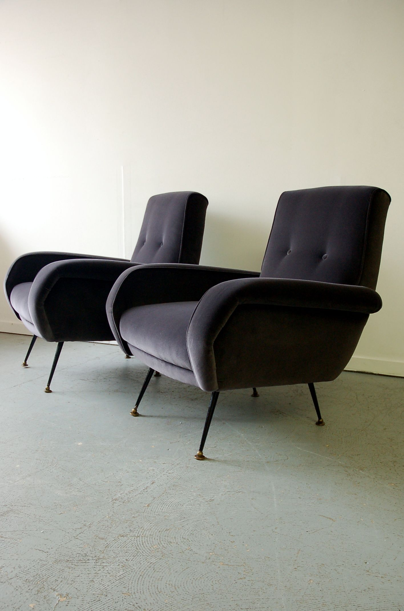 Pair 1950s Italian Armchairs Designers Guild Varese Velvet Midcentury Modern
