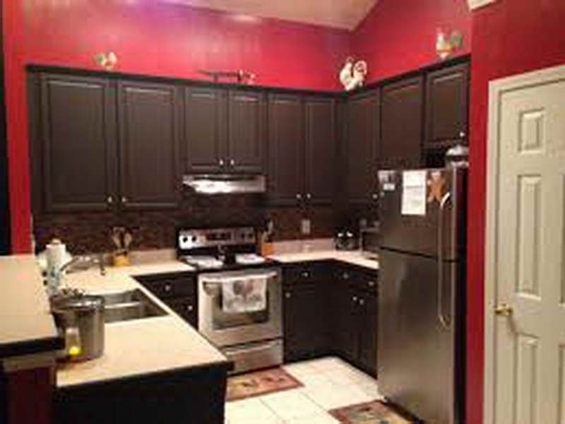 Red Kitchen Paint Ideas Part - 18: Rustoleum Black Cabinet Transformations Red Wall Paint