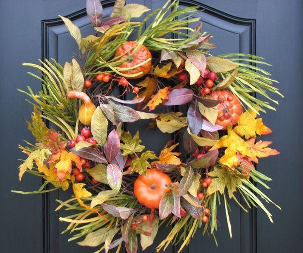 Lovely autumn wreath for my dark green door