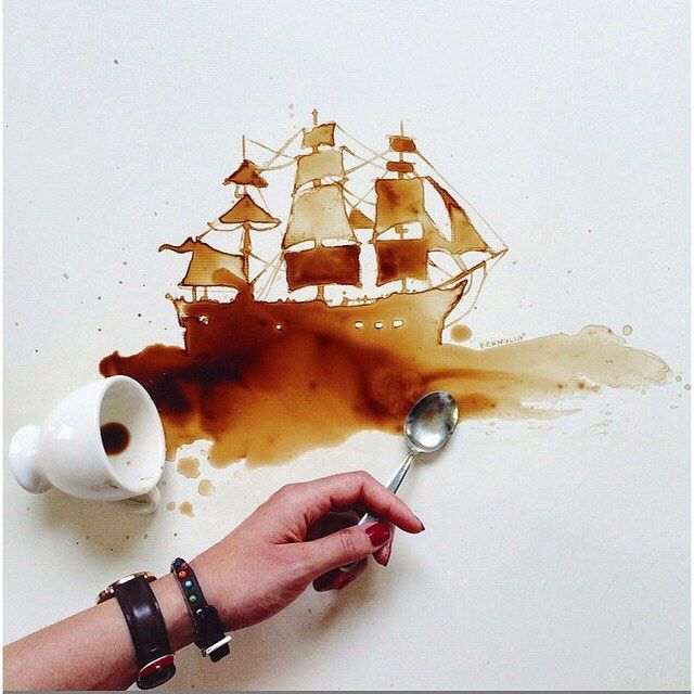 """Artist Giulia Bernardelli bringing new meaning to the term """"coffee art"""" on this Sunday morning. \\\ Photo by @bernulia"""