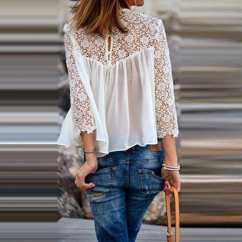 Blusa de Renda. Pormenores com um toque de romantismo…Quem gosta? Zara White Romantic Crop Lace Blouse