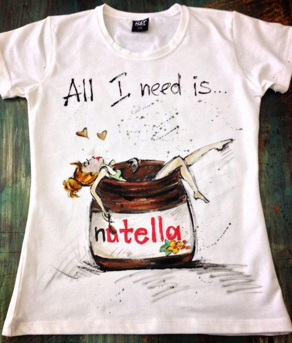 Hand Painted Tshirt With Nutella White Women Handpainted Tshirt With Girl Drawing T Shirt Painting Painted Clothes T Shirt Diy
