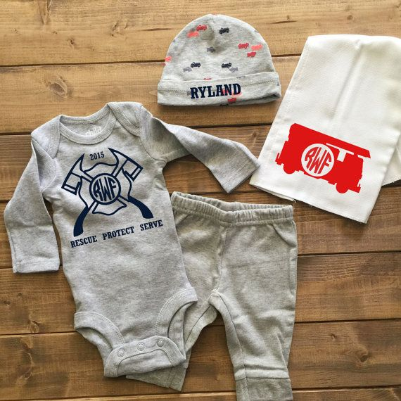 ENDS AT 12AM Baby Boy Coming Home Outfit, baby boy clothes, boy take home  outfit, baby boy shirts, little brother shirts, baby boy outfits - Firefighter Baby Boy Coming Home Outfit, Boys Monogrammed Outfit