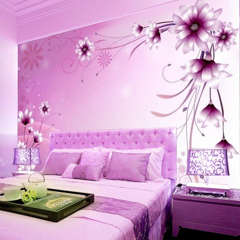 Pastoral large mural wallpaper special romantic purple floral ...