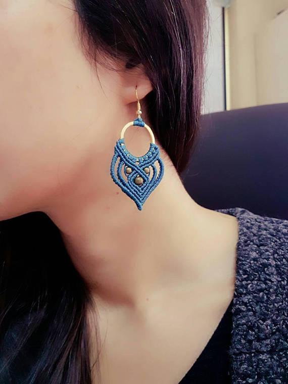 Macrame Earrings, Handmade Earrings, Asymmetric Hoops Earring, Handmade Macrame, Dangle Earring,Macr #jewelry