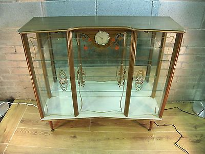 good condition very retro 60s vintage glass display cabinet c/w smith clock - Good Condition Very Retro 60s Vintage Glass Display Cabinet C/w