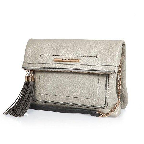 River Island Grey foldover tassel handbag (190 SAR) ❤ liked on Polyvore featuring bags, handbags, bags / purses, cross body bags, grey, women, vegan handbags, gray handbags, river island and crossbody handbags