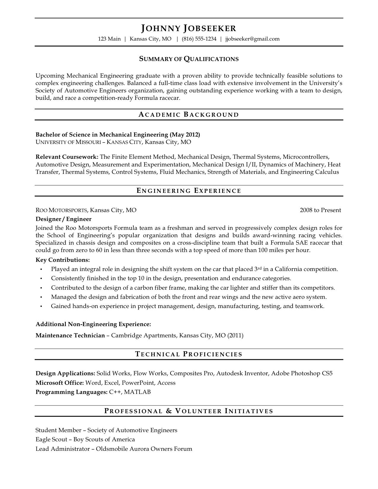 new graduate resume sample