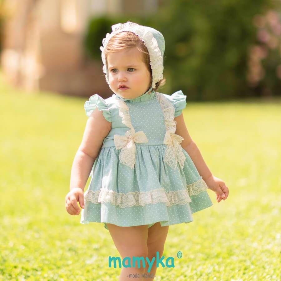0df8a2b04 Vestido bebé niña colección Verde agua