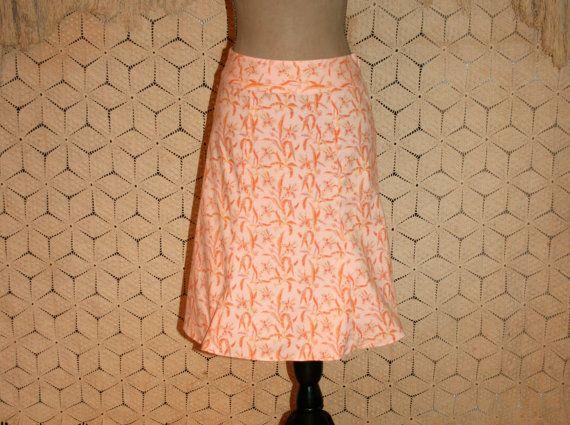 Peach Floral Print Skirt Flared Midi Cotton by MagpieandOtis