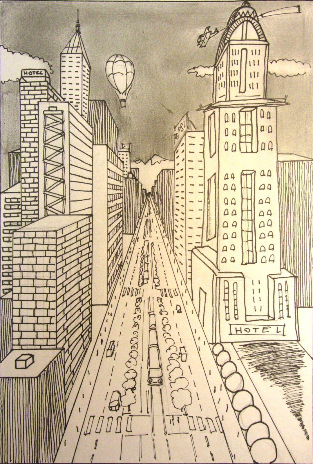 town center by Jesús | artística | Pinterest | Perspectiva, Dibujo y ...