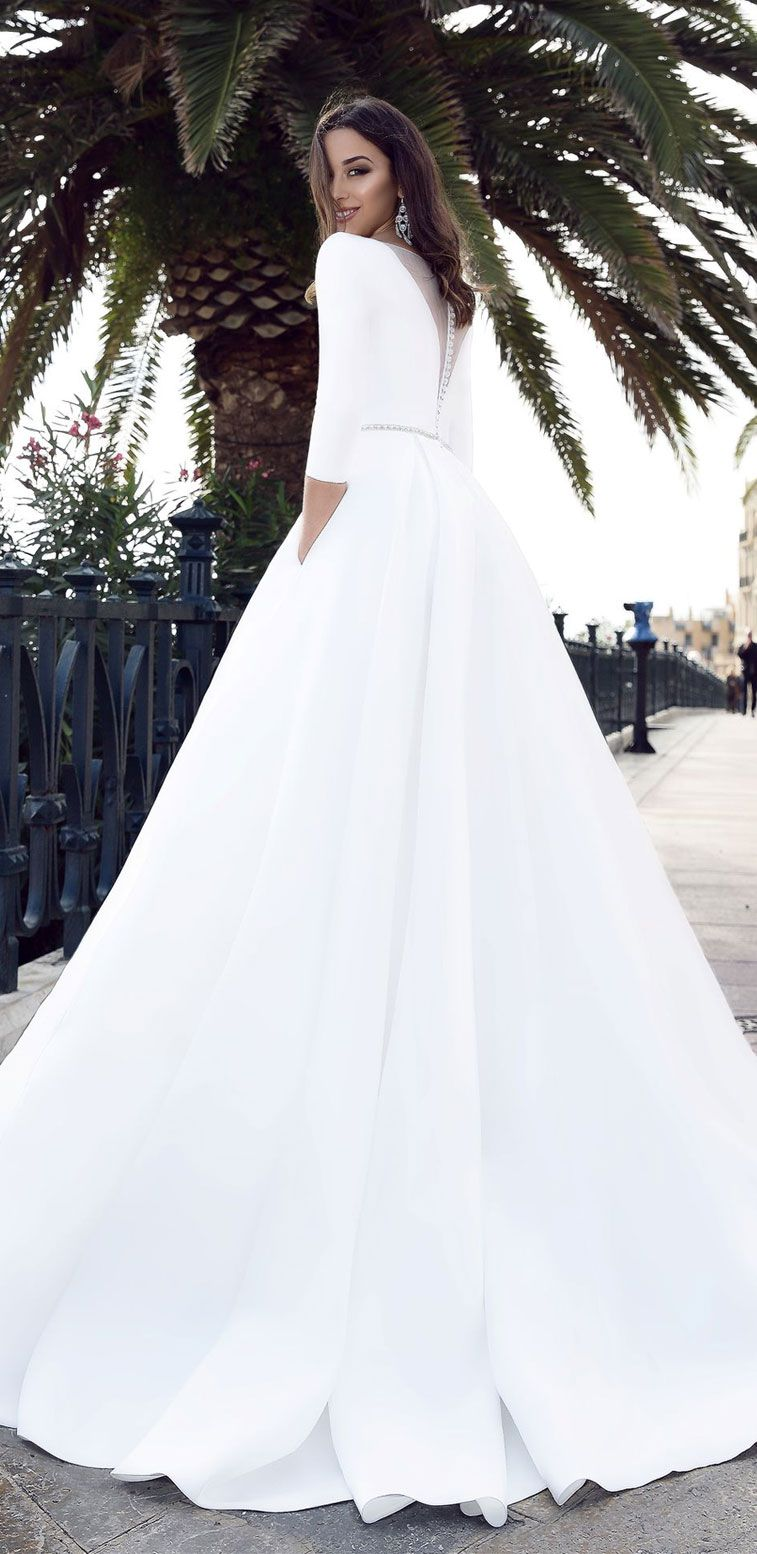 34 Wedding Dresses With Modern and Unique Sense of Style – simple elegant bridal gown #weddingdress #weddinggown