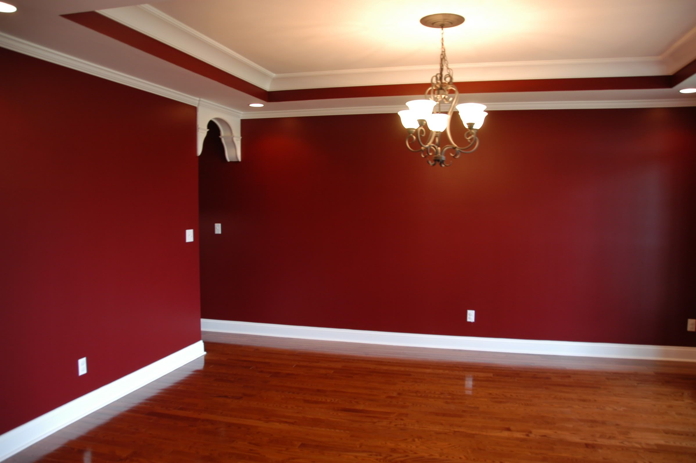 Dark red dining room