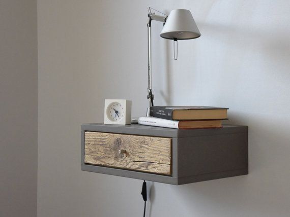 Floating bedside table floating nightstand with drawer in old wood scandinavian design - Console murale avec tiroir ...