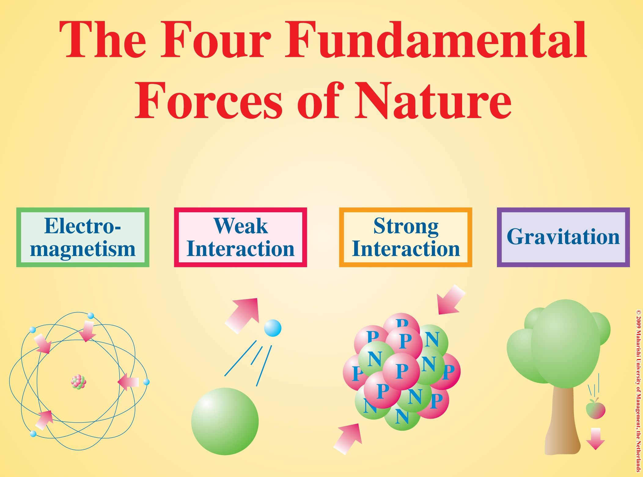 The Four Fundamental Forces. In Physics, the fundamental forces describe  how particles interact with one another. The four known forces are the  Strong ...