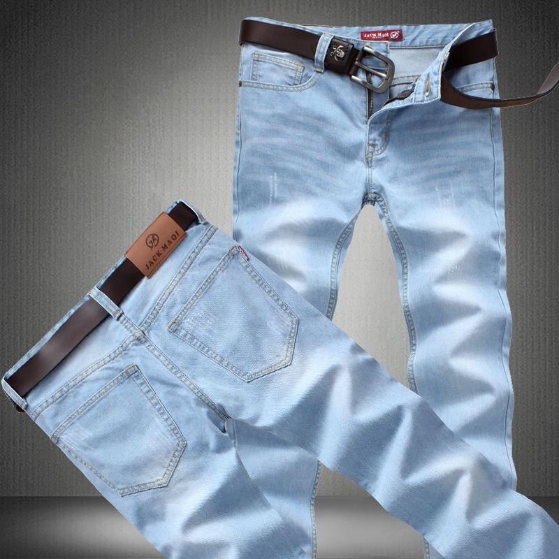 0ed2c57fbc4 Find More Jeans Information about Light Blue Men Jeans New 2015 Spring Summer  Straight Casual Loose Denim Long Trousers Elegent Men s Jean Pant Big Size  42 ...