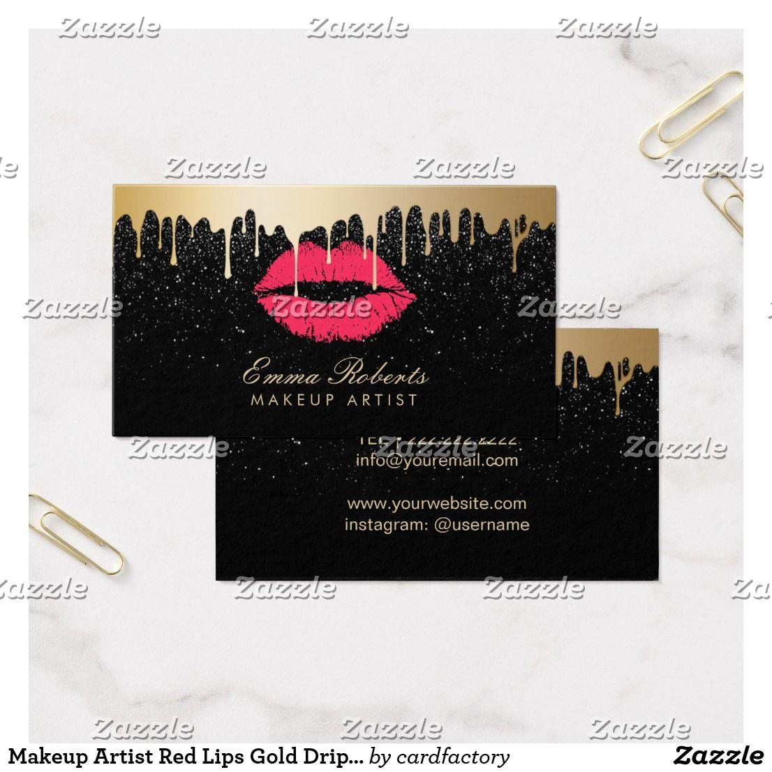 Makeup artist red lips gold drips modern black business card makeup artist red lips gold drips modern black business card reheart Image collections
