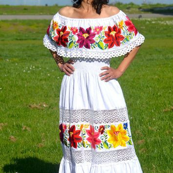 Mexican embroidered dress white