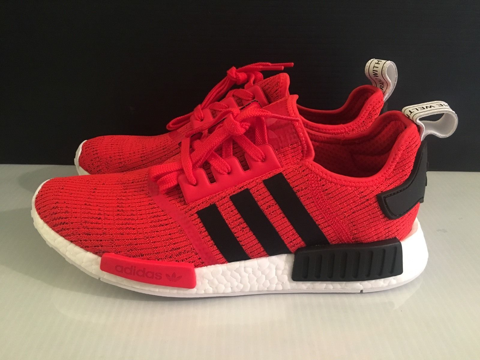 Adidas NMD R1 Core Red Black Trainers | Adidas nmd r1, Black