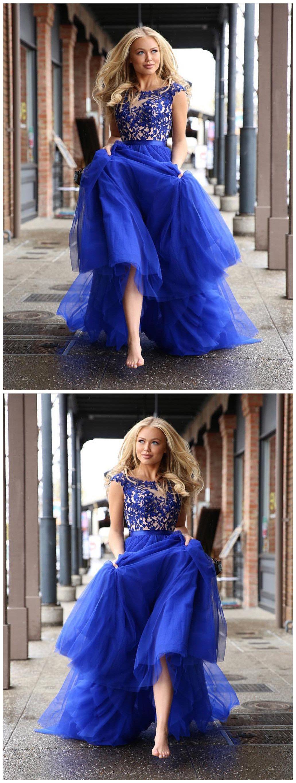 Royal blue prom dress aline scoop applique tulle long prom dresses