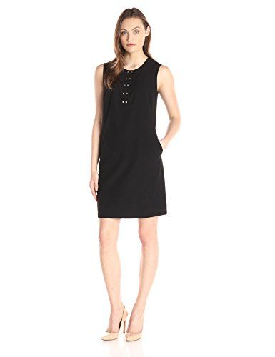 Lark & Ro Women's Sleeveless Snap-Front Shift Dress, Black, 0 ...