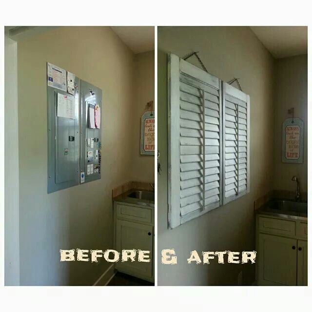 Shutters diy. Electric fuse box cover-up. | Hide electrical panel, Fuse box  cover, Finishing basementPinterest