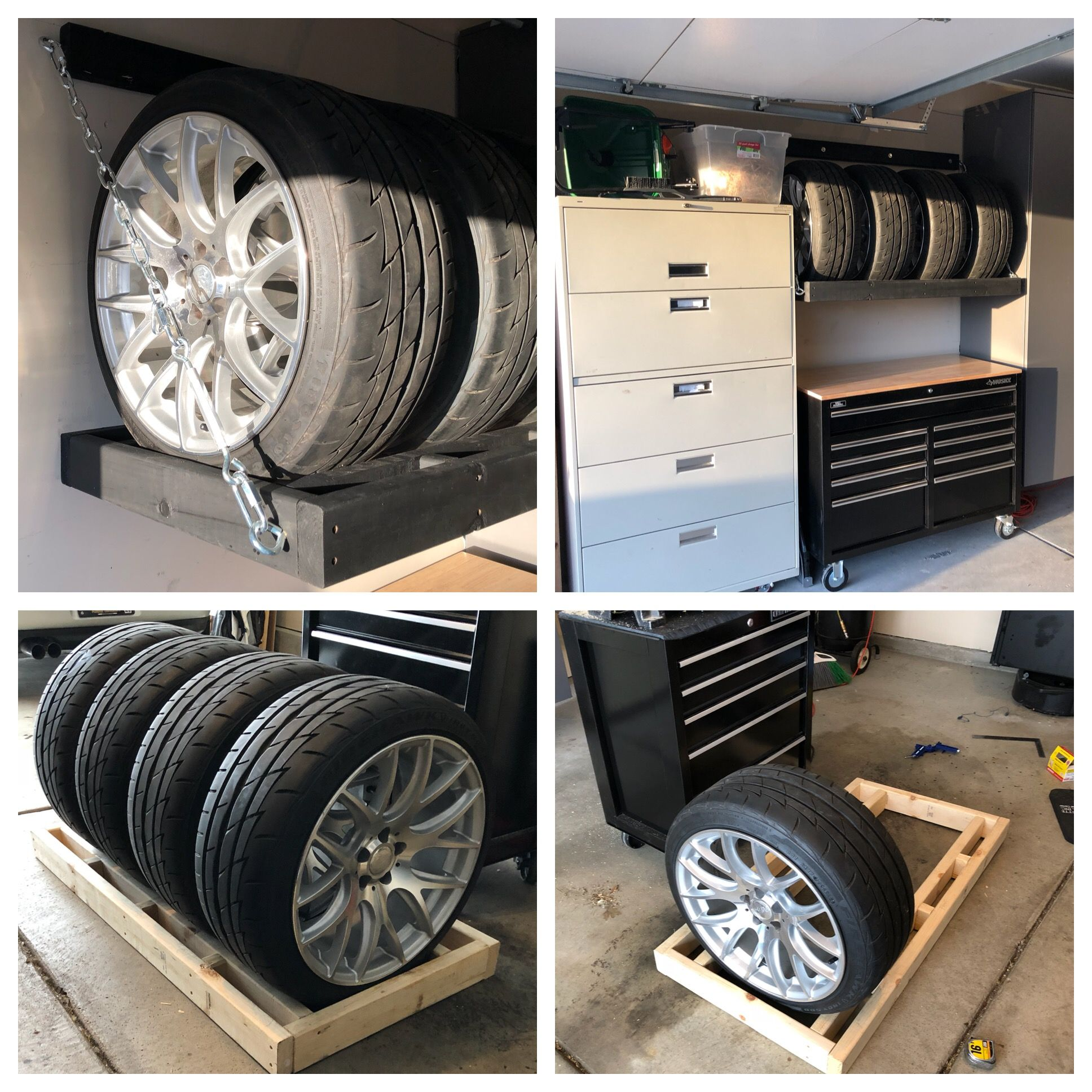 Diy Tire Rack Wall Mounted Lag Screws Chains Quick Links Turnbuckles Tire Rack Diy Projects Rack