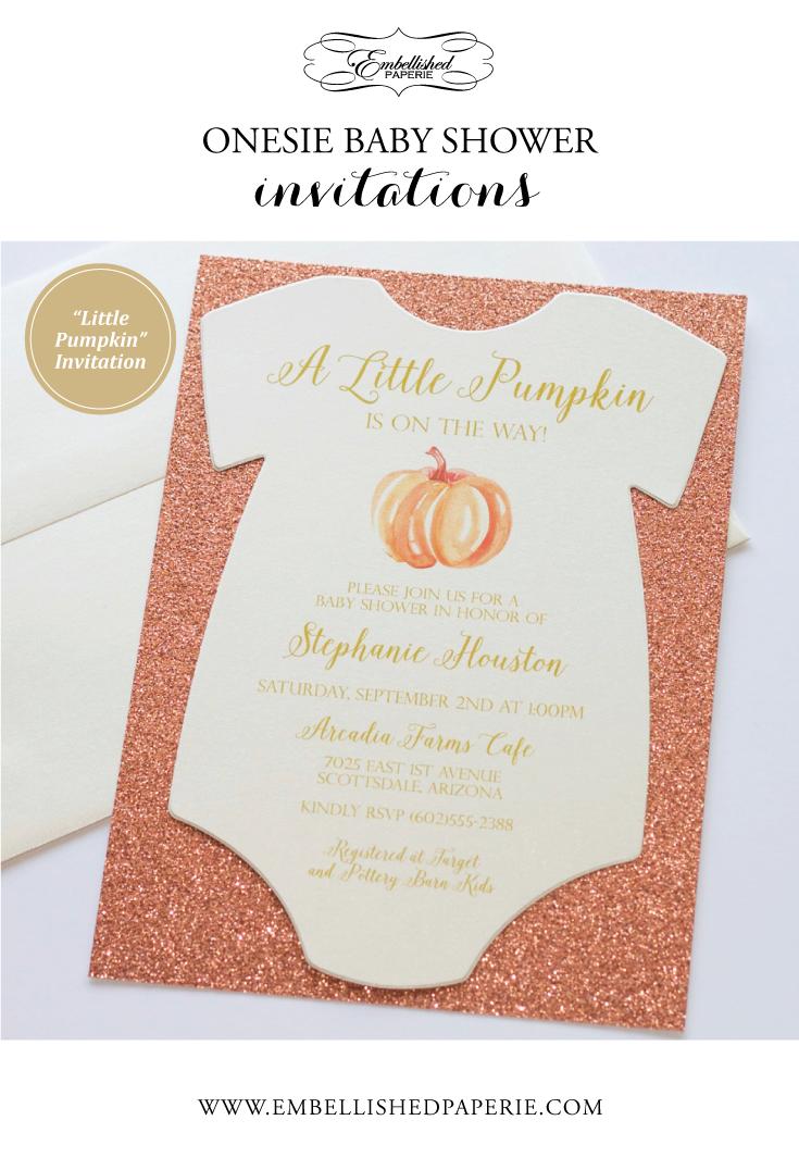 Little Pumpkin Baby Shower Invitation - Rose Gold Glitter Shower ...