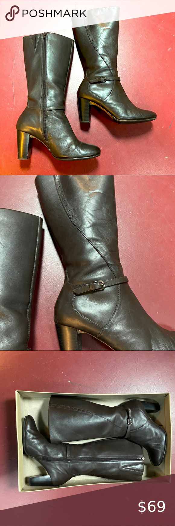 "Photo of Naturalizer leather boots. ""Downtown"" style size 8"