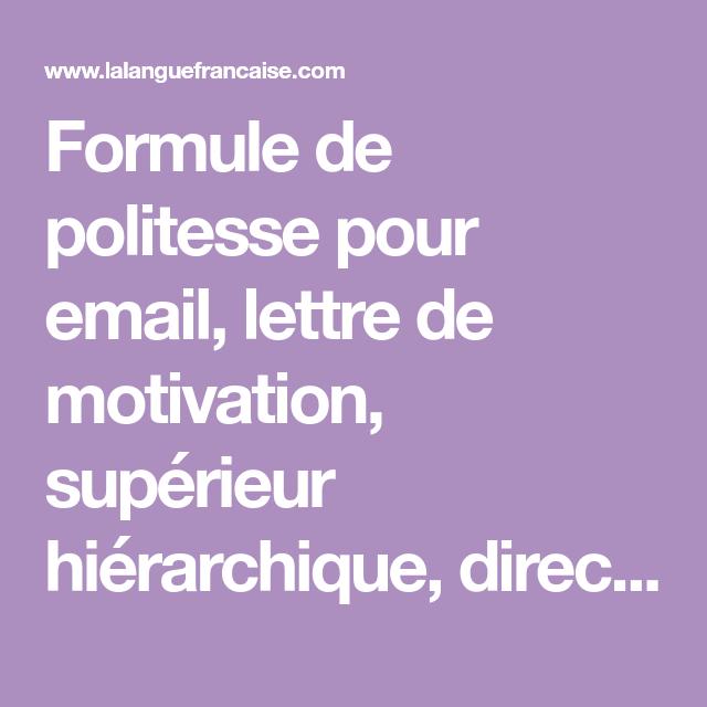 Formule De Politesse Pour Email Lettre De Motivation