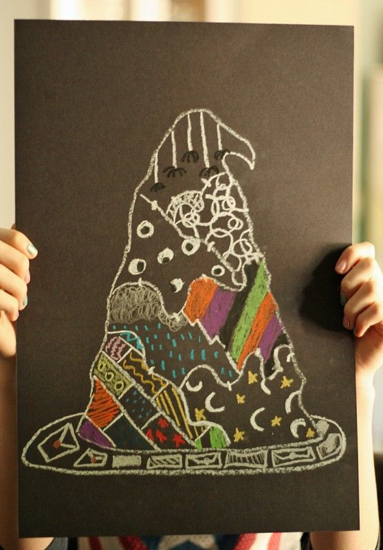 Oil Pastel Witch Hat Drawings Black paper, Continue reading and - halloween decorations to make on your own