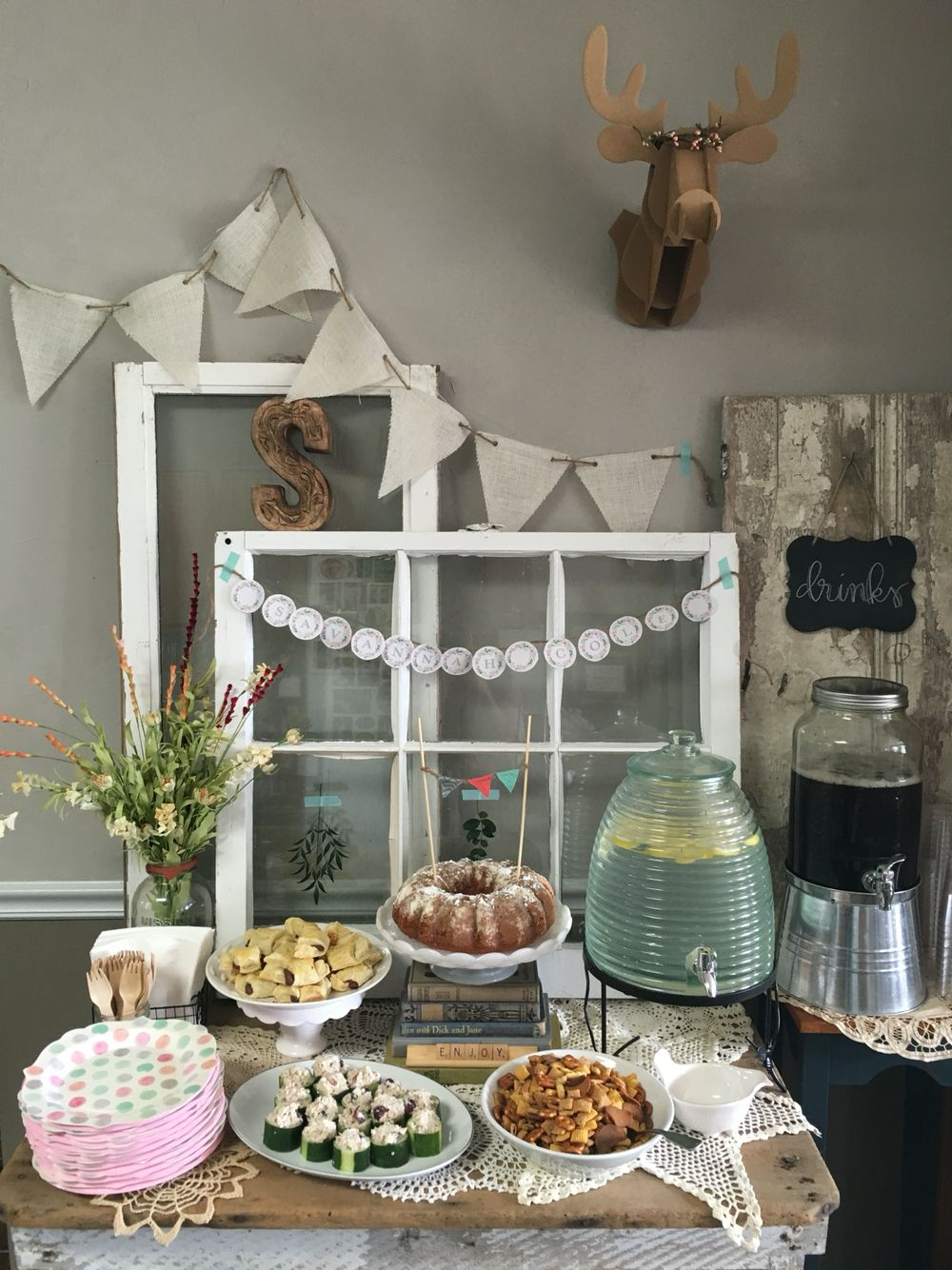 Rustic, neutral, boho chic baby shower
