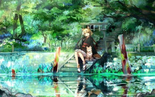 美少女と猫があればそれでいい 女の子と犬、幻想的なイラスト、幻想 的 な 画像