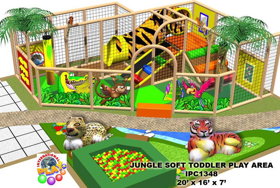 Small themed jungle soft playground area for the smaller children ...