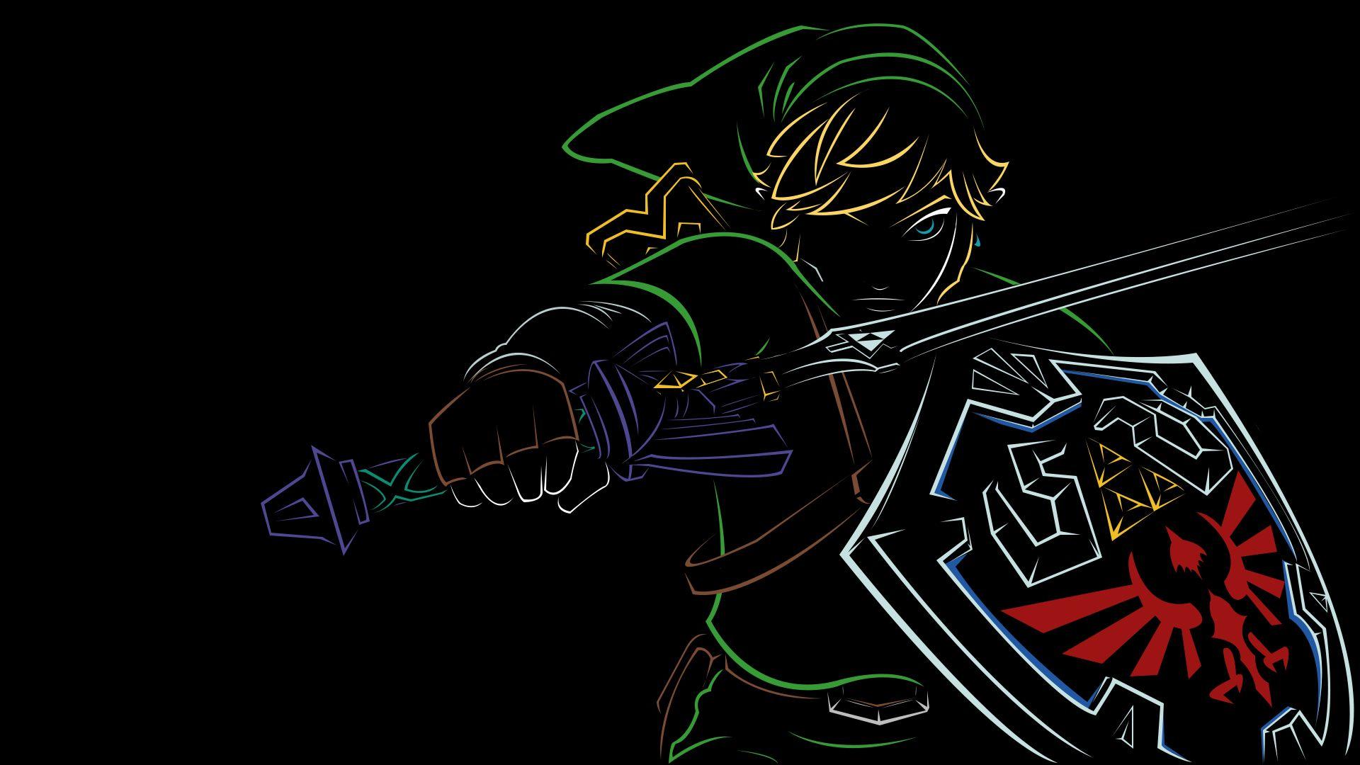 Link From Zelda Minimalist Outline Wallpaper Legend Of