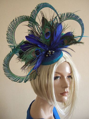 b25aa951 Hand Sewn Large Fascinator Blues and Greens, with Peacock Feathers and  Swarovski Crystals